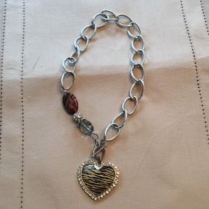 Zebra heart with sparkling stones necklace